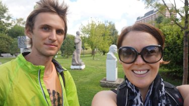 "Writer Elle Hardy with ""Lenining"" expert Alexander Bork in Moscow's Muzeon Park."