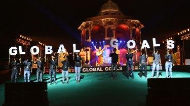 Global goals: A stage performance at the Delhi Action 2015 Global mobilisation event in September.