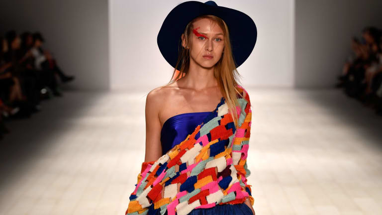 A model walks the runway in a design by Carley Rose The Label during the Raffles International Showcase show at Mercedes-Benz Fashion Week Resort 18 Collections in Sydney last week.