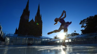 Katie Pasfield, 17, a member of Stars on Ice, tests the rink near St Mary's Cathedral.