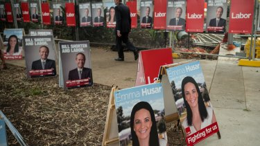 In danger: the company that prints Labor's signage has gone bust.