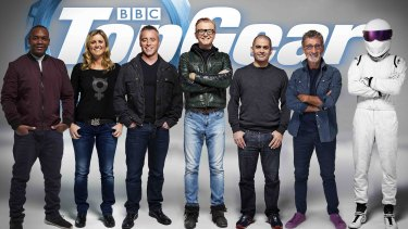 's line-up of presenters for 2016. From left: Rory Reid, Sabine Schmitz, Matt LeBlanc, Chris Evans, Chris Harris, Eddie Jordan, The Stig.