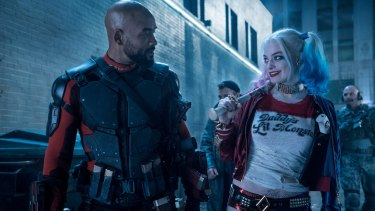 Will Smith as Deadshot and Margot Robbie as Harley Quinn  in Suicide Squad.