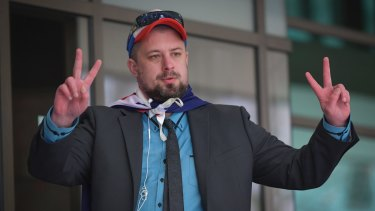 United Patriots Front member Neil Erikson outside Melbourne Magistrates Court on Tuesday, hours before the council chamber protest.