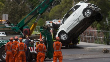 The car was winched up from the Yarra.