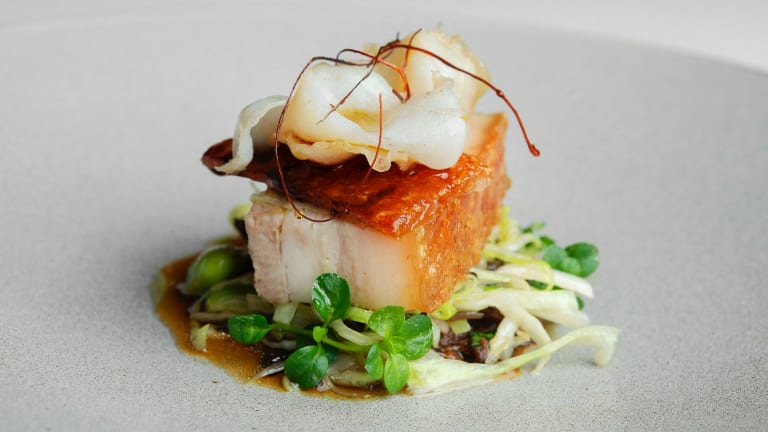 Pork belly pork with eggplant, abalone and edamame.