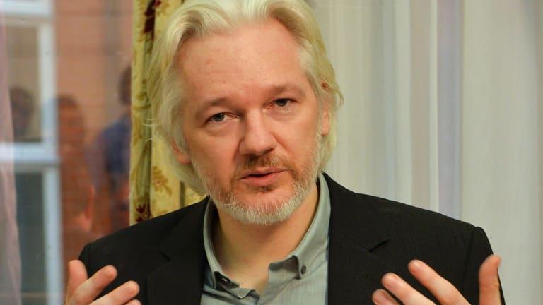 Julian Assange at the Ecuadorian embassy in London in August.
