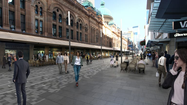 An artist's impression of George Street next to the QVB without trees.