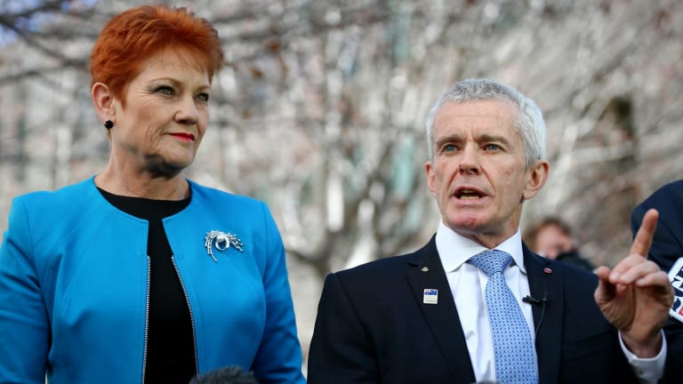The report says One Nation's four senators - including Pauline Hanson and Malcolm Roberts - were elected on the back of a platform which included ceasing Muslim immigration.