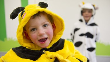 Brothers Lucas, 3, and Blake Wallace, 5, dressing up in Onesies for a day to support the Cerebral Palsy Alliance.