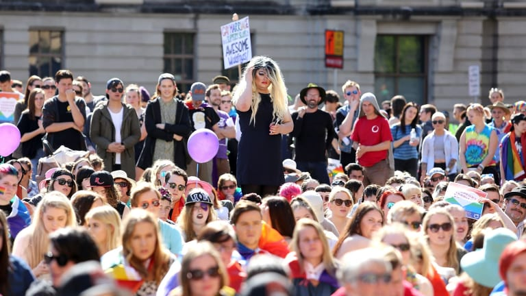 Thousands of people turned out for the same-sex marriage equality rally at Queens Park in August.
