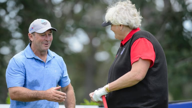 Canberra Raiders coach Ricky Stuart and Laura Davies during the Canberra Classic ProAm.
