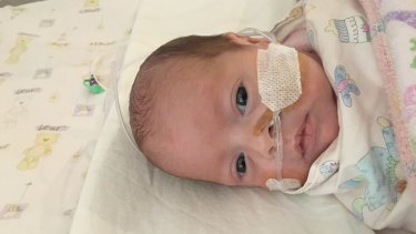 Eleven-week-old Grace Jackson is one of the eight babies carrying the superbug VRE.