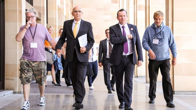 Attorney General John Quigley and Premier Mark McGowan (centre) announced the bill on Wednesday.