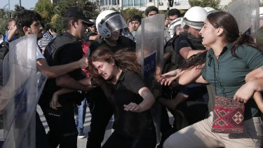 Turkish police clash with protesters in Istanbul.