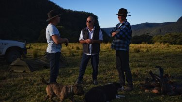 YouCamp founder James Woodford with land owners Michael Fletcher and Peter Botsman.