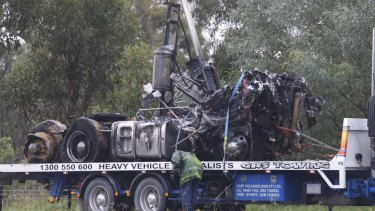 The destroyed remains of a vehicle after the fiery crash on the M7.
