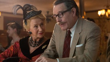 Hedda Hopper (Helen Mirren) and Dalton Trumbo (Bryan Cranston) in a scene from TRUMBO directed by Jay Roach, in cinemas February 18, 2016. An Entertainment One Films release. For more information contact Claire Fromm: cfromm@entonegroup.com. Hedda Hopper (Helen Mirren) and Dalton Trumbo (Bryan Cranston) in the film TRUMBO.