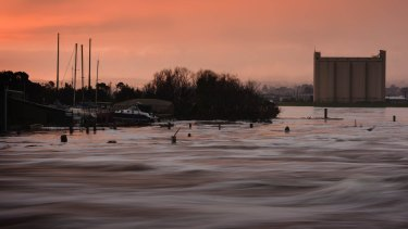 Floodwater swirls around the Tamar Basin in Launceston.