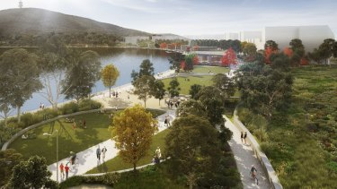 An artist's impression of the park to be developed as the first stage of the ACT government's City to the Lake development at West Basin.