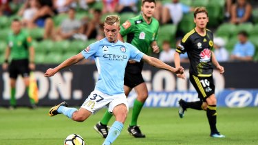 Impressive: Nathaniel Atkinson has just signed a new deal with Melbourne City.
