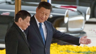 Chinese President Xi Jinping, right, with Philippines President Rodrigo Duterte during a welcome ceremony outside the Great Hall of the People in Beijing.