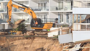 Works at Collaroy beach earlier this month to shore up the collapsed foreshore after the recent east coast low.