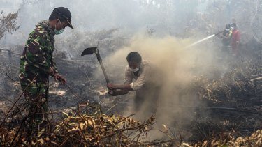 Villagers and military personnel work to contain a wildfire on a field in Rimbo Panjang, Indonesia.