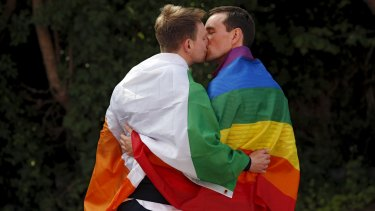 A couple embracing outside the count centre in Dublin when Ireland held a referendum on gay marriage on May 23, 2015.