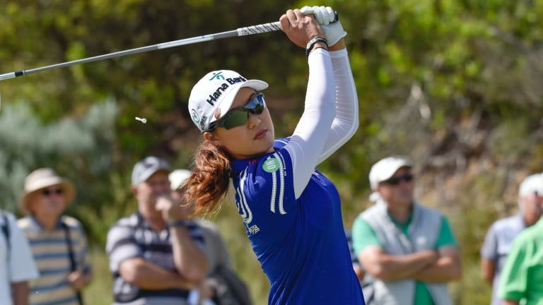 Full swing: Australian No.1 Minjee Lee in action on day two of the Oates Vic Open.
