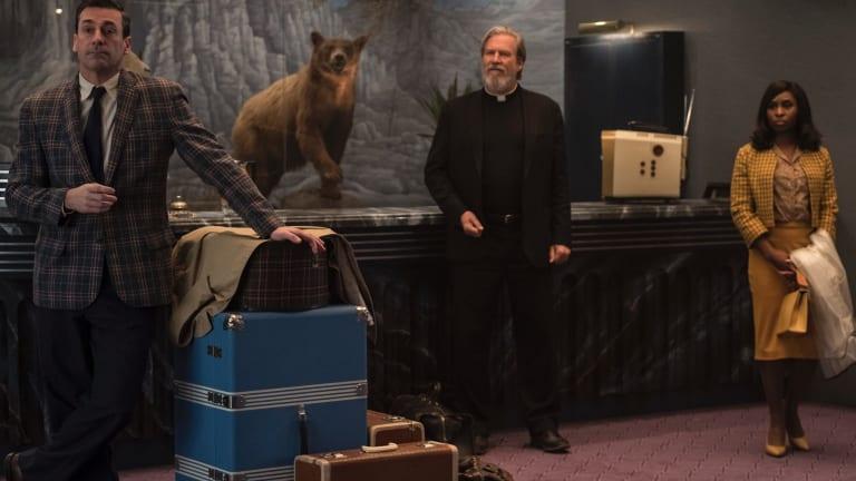 Not what they seem: John Hamm as Laramie Seymour Sullivan, Jeff Bridges as Father Daniel Flynn and Cynthia Erivo as Darlene Sweet.