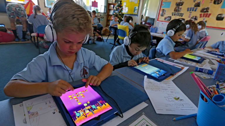 Ready, set, remember: Grade 1 student Elliot Reidy uses the maths app being trialled at Tucker Road Primary school.