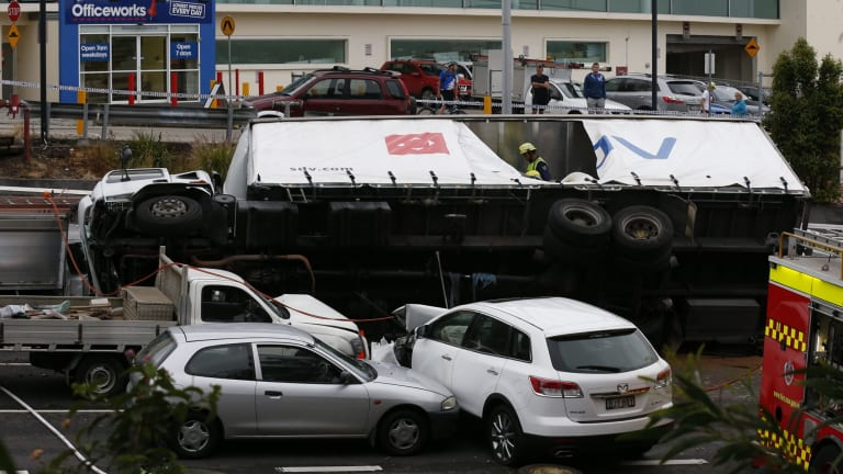 The overturned truck in Dee Why in October 2014.