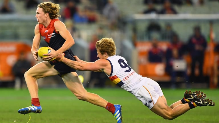 Young Demon Jayden Hunt showed plenty of moxie in his 11th game, using his impressive pace to break the lines.