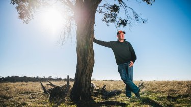 Steve Evans on his NSW property, Cardinia Estate, about 1km from the ACT border where he runs cattle and sheep: Mr Evans, along with other landowners, is upset about a proposed 5km buffer zone stopping development between in NSW on the ACT's border.