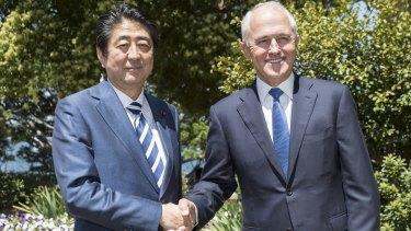 Japanese Prime Minister Shinzo Abe with Prime Minister Malcom Turnbull earlier in January.