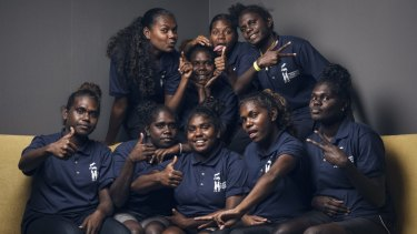 Tiwi College schoolgirls from Melville Island who spent a week in Sydney working on their book, Our Story, with the support of the Indigenous Literacy Foundation.