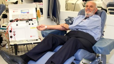 James Harrison making one of his 1100 blood plasma donations to create the anti-D vaccine.