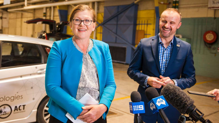 ACT local industry advocate Kate Lundy with Chief Minister Andrew Barr.