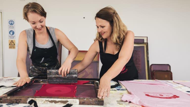Jemima Parker and artistic director Ingeborg Hansen at Megalo Print Studio and Gallery in Kingston.