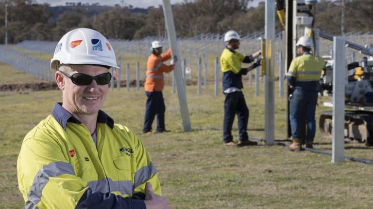 Bruce van Breda project manager UGL overseeing work on the Mugga Lane Solar Farm.