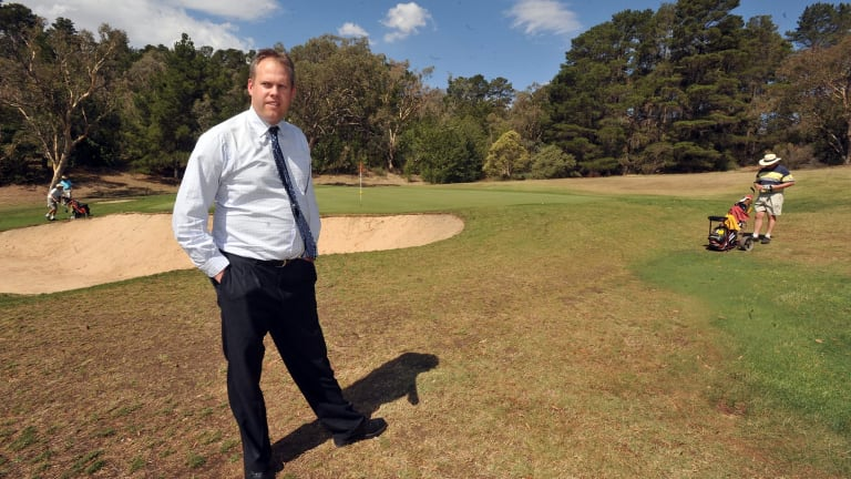 Manager of the Federal Golf Course at Red Hill Scott Elias, pictured in front of the site the golf club hopes to use for 125 retirement homes.