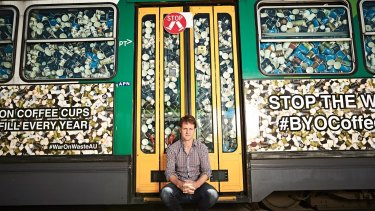 This A-class tram - stuffed with more than 50,000 takeaway coffee cups - represents what Australians send to landfill every half-hour.