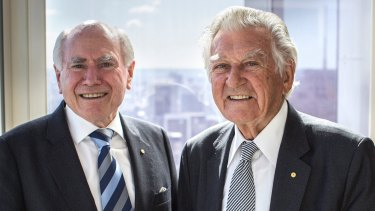 Former prime minister Bob Hawke (right) is on the guest list of Howard on Menzies: Building Modern Australia.