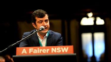 Labor senator Sam Dastyari during the NSW State Labor Conference on Saturday.