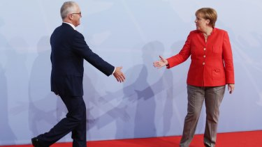 Australian Prime Minister Malcolm Turnbull meets with German Chancellor Angela Merkel in Hamburg.