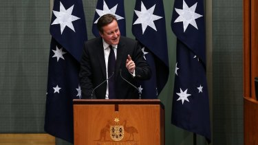 David Cameron addresses Parliament.