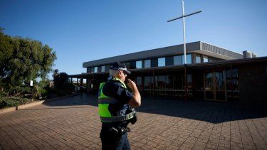 Police are searching for a man who stabbed a parish priest in Fawkner.