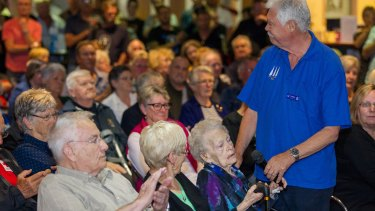 Member Ella Bambery asks a question during this week's information night over the RSL's closure.