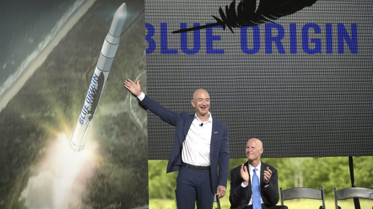 Amazon CEO Jeff Bezos, as he unveiled a Blue Origin rocket, at the Cape Canaveral Air Force Station in Florida two months ago.